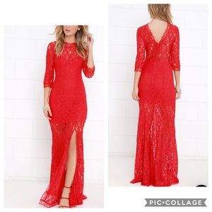 Lulus • The Only One Red Lace Maxi Dress